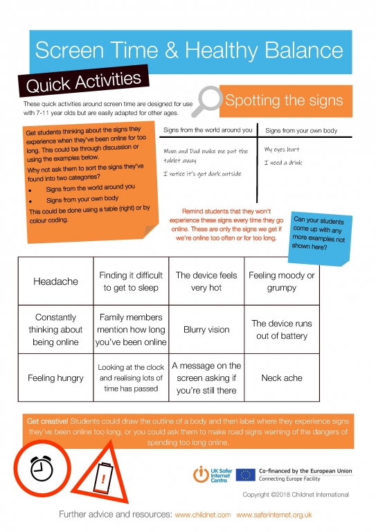 Screen TIme and Healthy Balance Quick Activities Page 2
